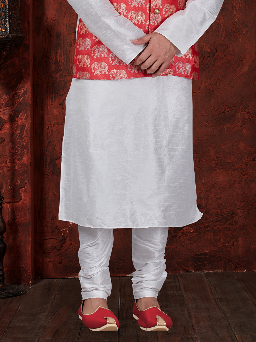 Off White And Coral Red Art Dupion Silk Festival Plain Kurta with Waistcoat