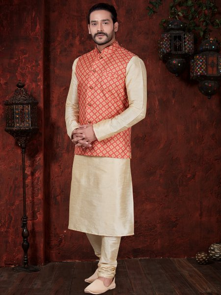 Cream Yellow And Vermilion Red Art Dupion Silk Festival Plain Kurta with Waistcoat