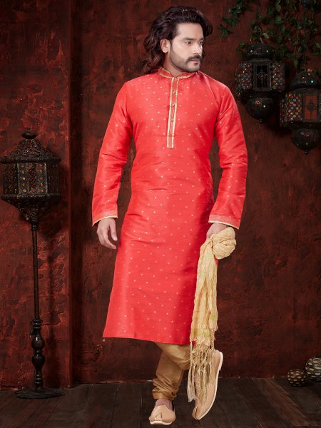 Tomato Orange Art Dupion Silk Embroidered Festival Kurta
