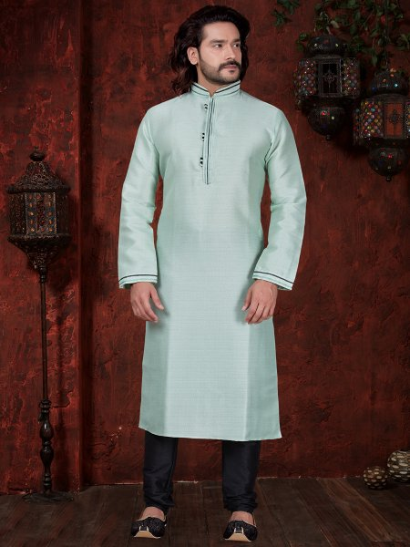 Tea Green Art Dupion Silk Embroidered Festival Kurta