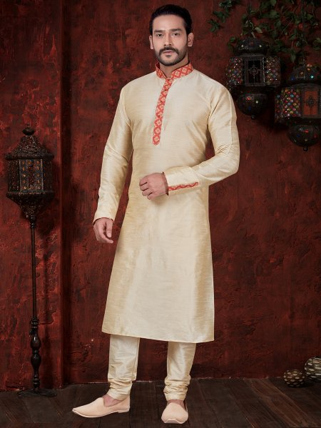 Cream Yellow Art Dupion Silk Embroidered Festival Kurta
