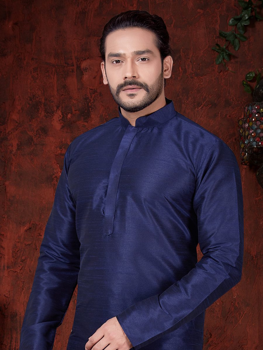 Prussian Blue Art Dupion Silk Plain Festival Kurta
