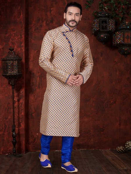 Cream Yellow Art Dupion Silk Festival Embroidered Kurta