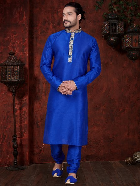Royal Blue Art Dupion Silk  Embroidered Festival Kurta