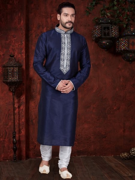 Prussian Blue Art Dupion Silk Festival Embroidered Kurta