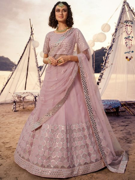 Lavender Pink Organza Embroidered Wedding Lehenga Choli