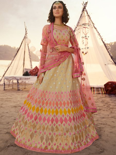 Beige Yellow Organza Embroidered Wedding Lehenga Choli