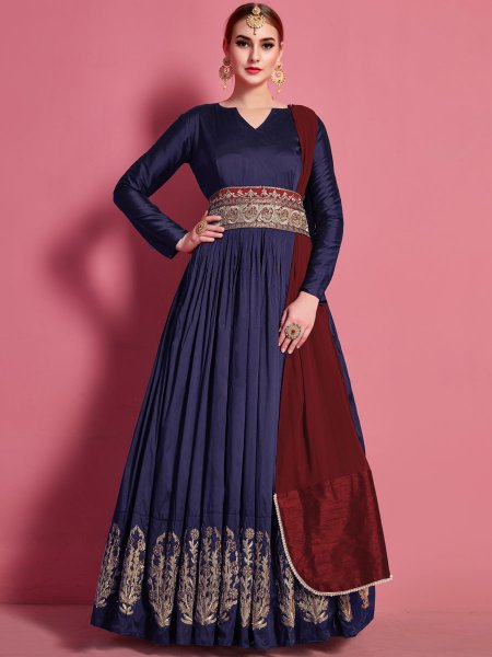 Navy Blue Silk Embroidered Festival Gown