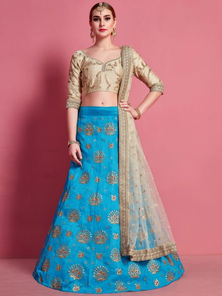 Deep Sky Blue Art Silk Embroidered Wedding Lehenga Choli