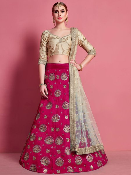 Dark Pink Art Silk Embroidered Wedding Lehenga Choli