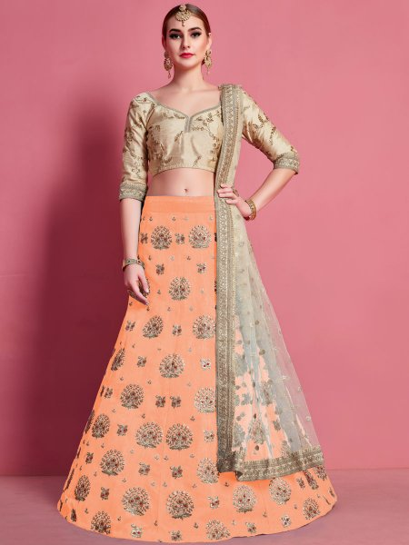 Salmon Orange Art Silk Embroidered Wedding Lehenga Choli