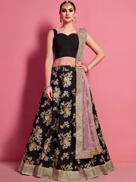 Black Crepe Silk Embroidered Wedding Lehenga Choli