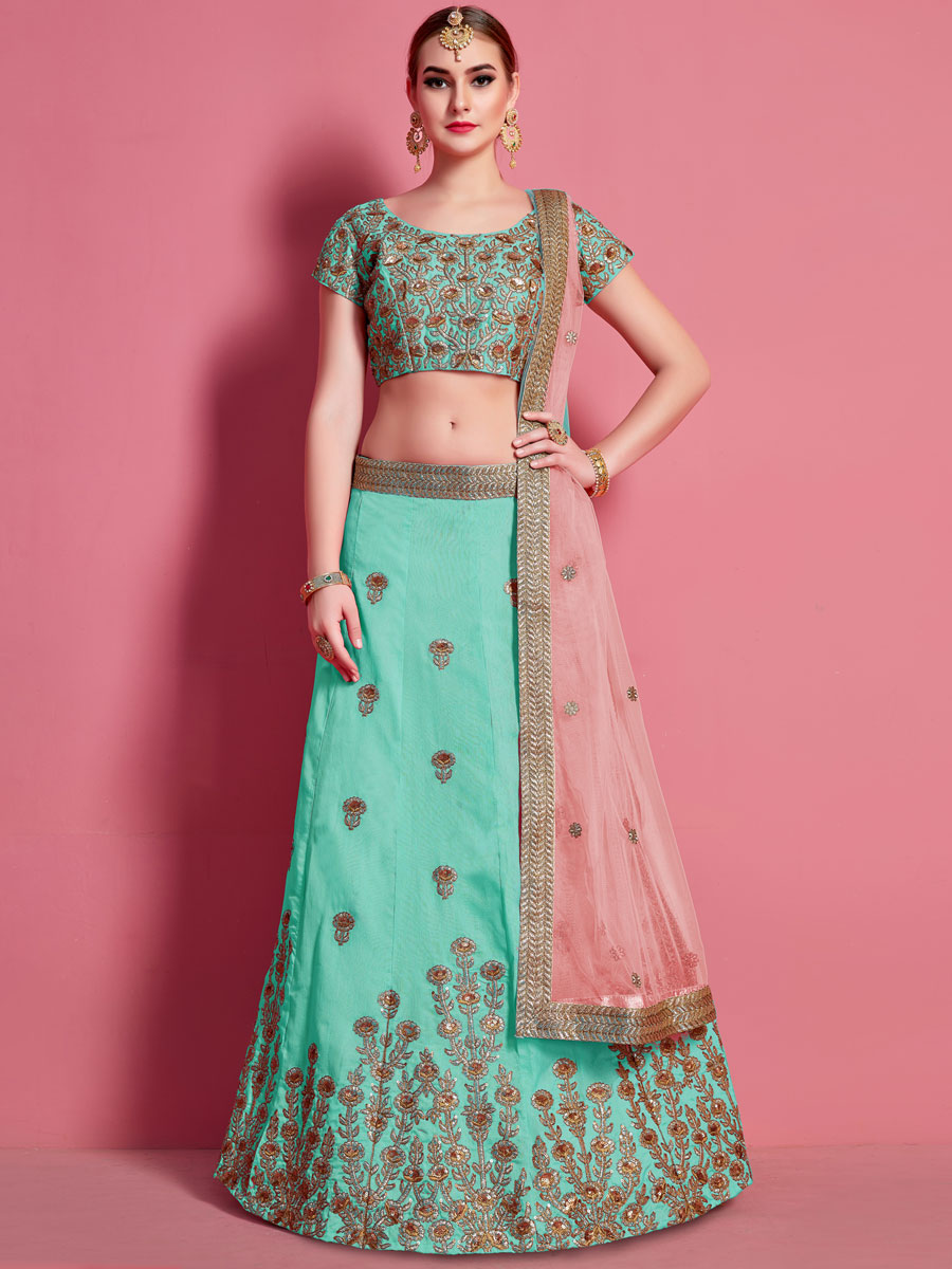 Jungle Green Art Silk Embroidered Wedding Lehenga Choli