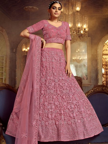 Thulian Pink Net Embroidered Wedding Lehenga Choli