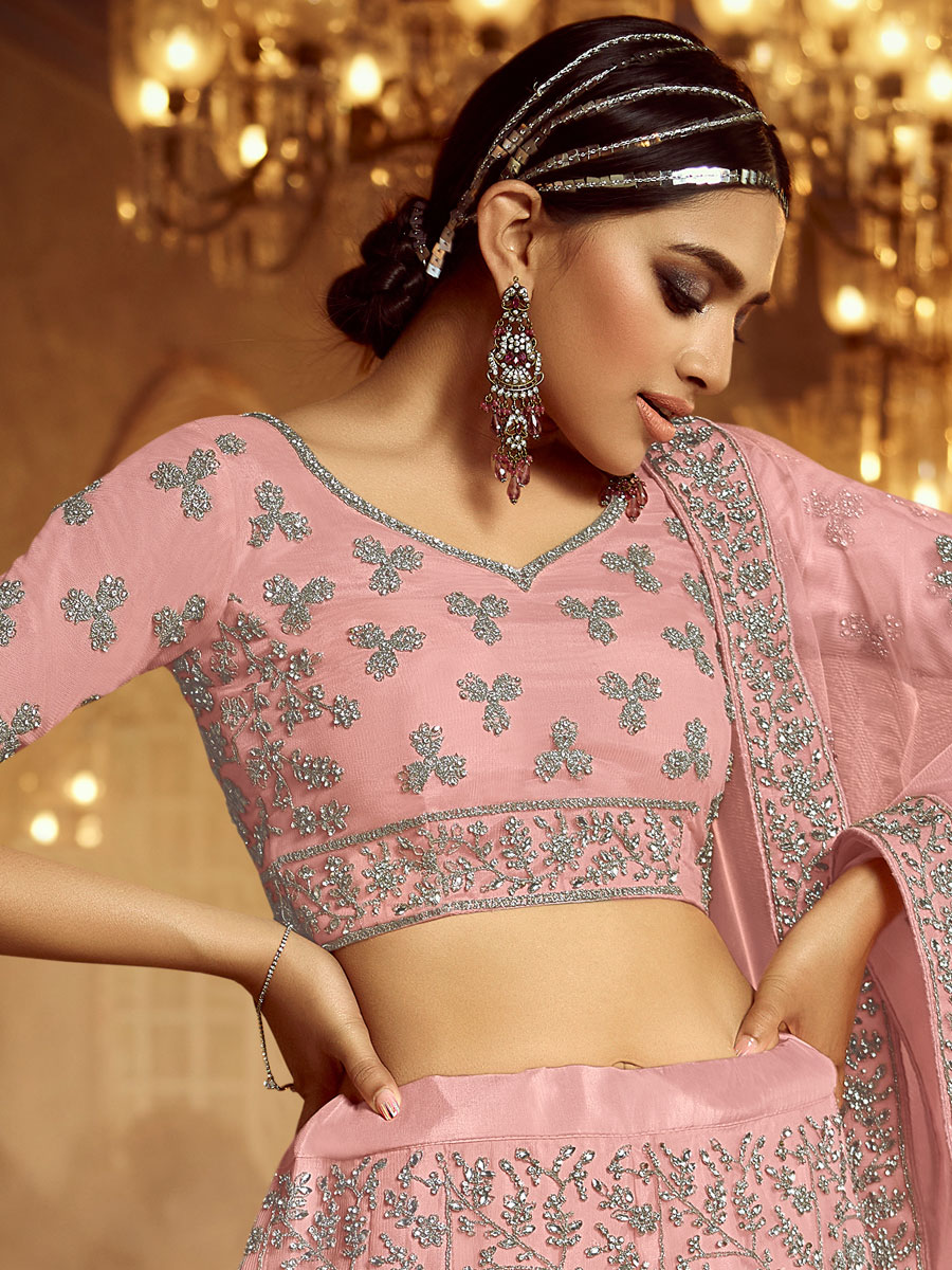 Light Pink Net Embroidered Wedding Lehenga Choli