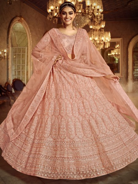 Light Coral Pink Net Embroidered Wedding Lehenga Choli