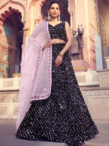 Black Imported Fabric Embroidered Party Lehenga Choli