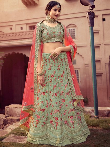 Celadon Green Faux Georgette Embroidered Wedding Lehenga Choli