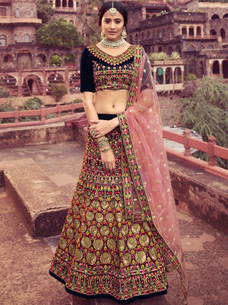 Navy Blue Velvet Embroidered Wedding Lehenga Choli
