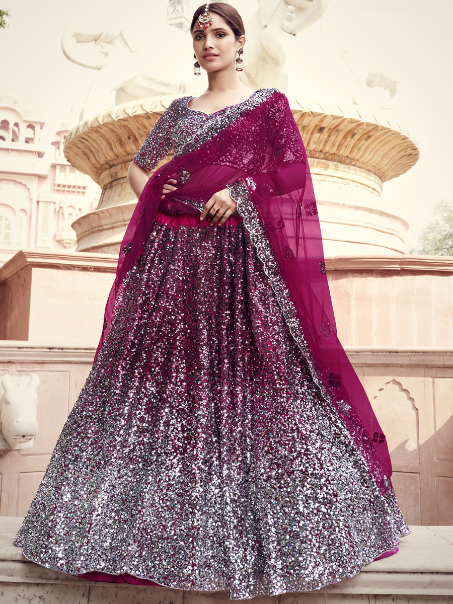 Wine Red Net Embroidered Party Lehenga Choli