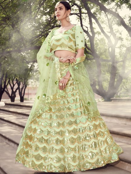 Moss Green Net Embroidered Party Lehenga Choli