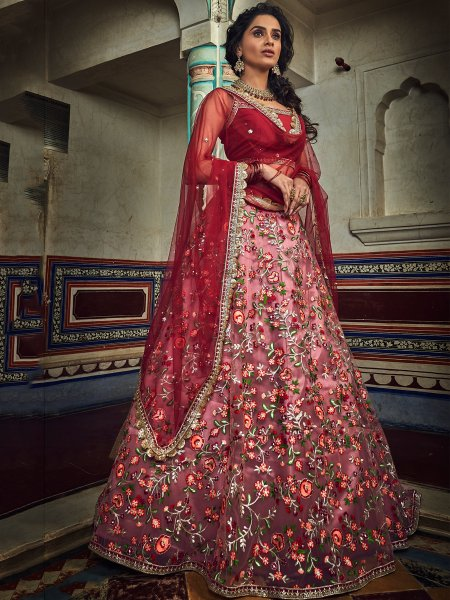 Thulian Pink Net Embroidered Festival Lehenga Choli