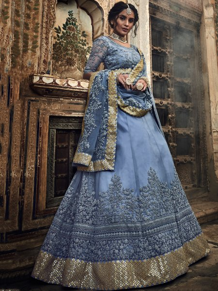 Cornflower Blue Net Embroidered Festival Lehenga Choli
