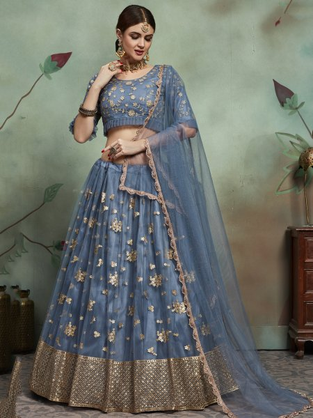 Arsenic Gray Net Embroidered Party Lehenga Choli