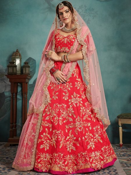 Rose Madder Red Art Silk Embroidered Party Lehenga Choli