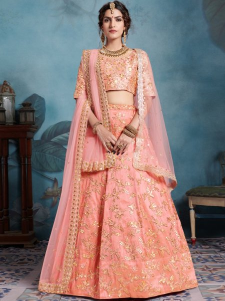 Pink Orange Art Silk Embroidered Party Lehenga Choli