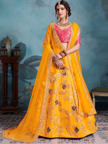 Amber Yellow Art Silk Embroidered Party Lehenga Choli