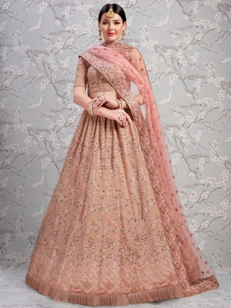 Puce Pink Faux Georgette Embroidered Wedding Lehenga Choli