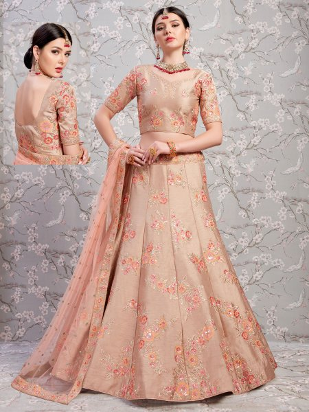 Tea Rose Pink Banglori Silk Embroidered Wedding Lehenga Choli