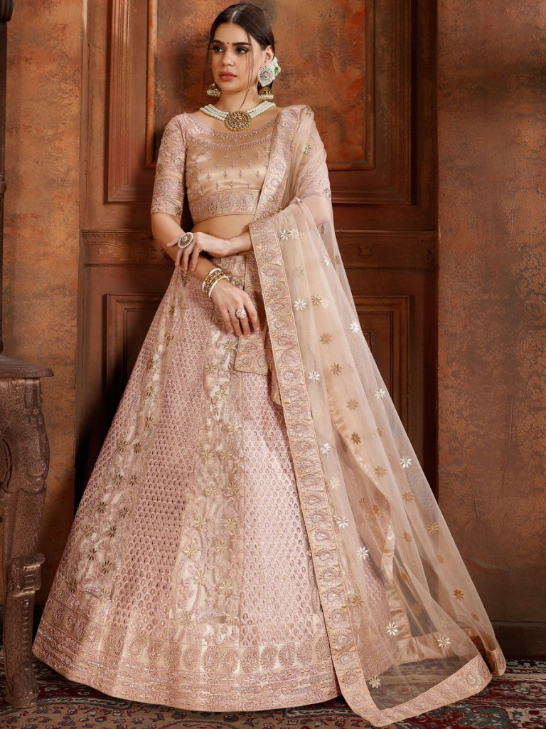 Beige Yellow Net Embroidered Wedding Lehenga Choli
