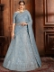 Columbia Blue Net Embroidered Wedding Lehenga Choli