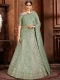 Light Viridian Green Net Embroidered Wedding Lehenga Choli