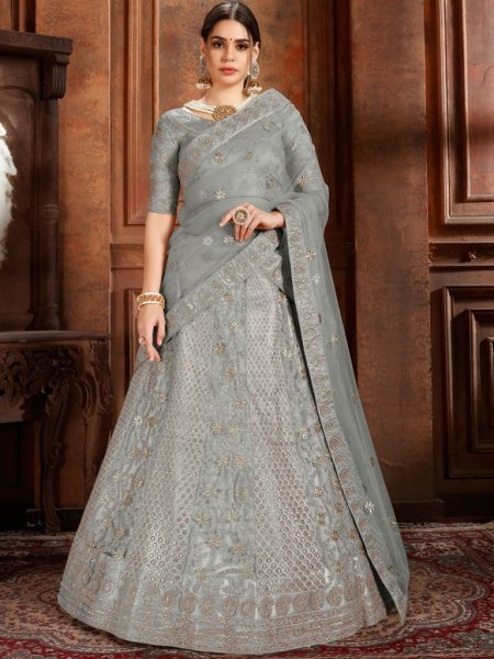 Gray Net Embroidered Wedding Lehenga Choli