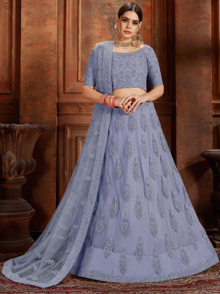 Cornflower Blue Net Embroidered Wedding Lehenga Choli