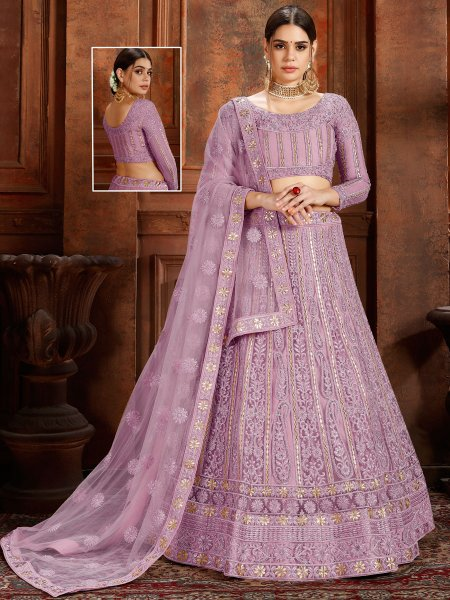 Light Purple Net Embroidered Wedding Lehenga Choli