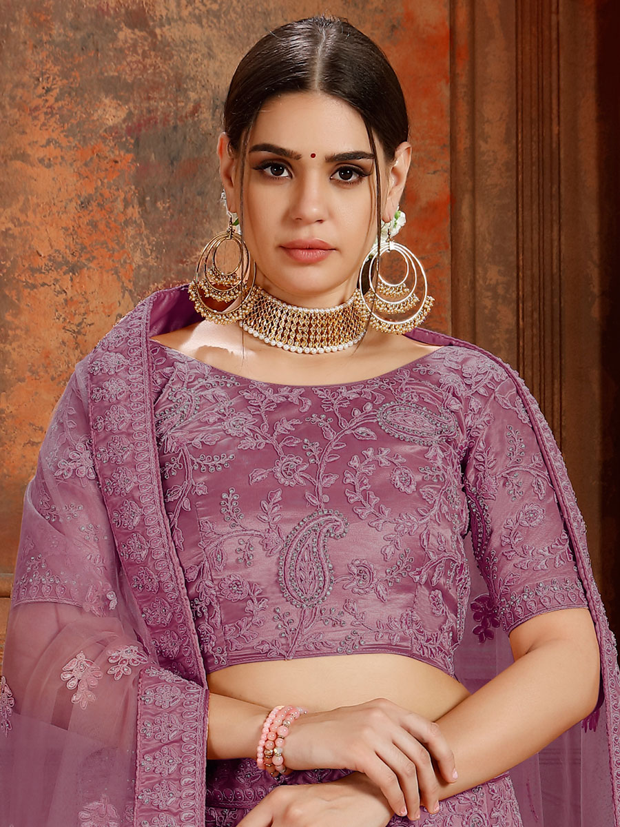 Purple Net Embroidered Wedding Lehenga Choli