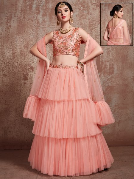 Coral Pink Soft Net Embroidered Party Lehenga Choli