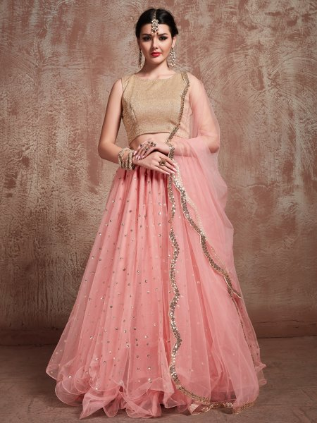 Salmon Pink Soft Net Embroidered Party Lehenga Choli