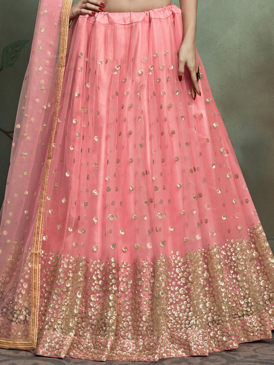 Salmon Pink Lycra Embroidered Party Lehenga Choli