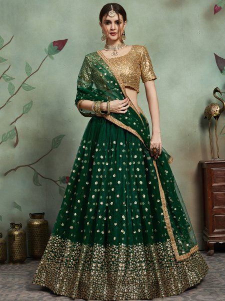 Myrtle Green Net Embroidered Party Lehenga Choli