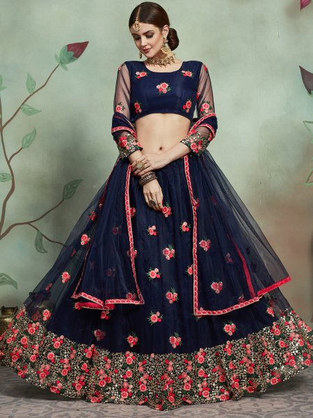 Sapphire Blue Net Embroidered Party Lehenga Choli