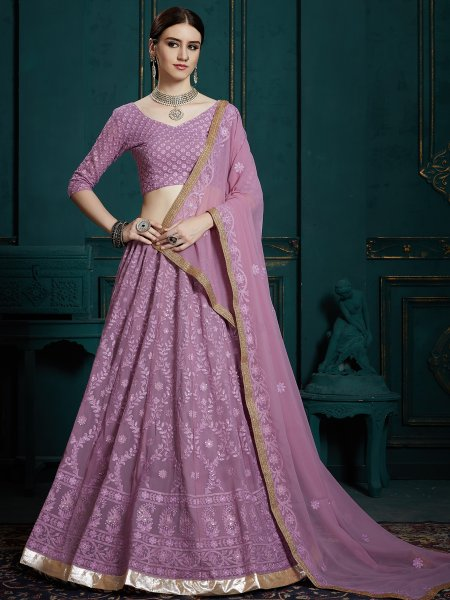 Amethyst Violet Faux Georgette Embroidered Party Lehenga Choli