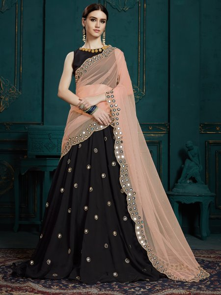 Black Faux Georgette Embroidered Party Lehenga Choli