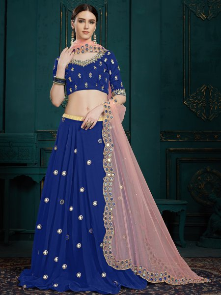 Navy Blue Faux Georgette Embroidered Party Lehenga Choli