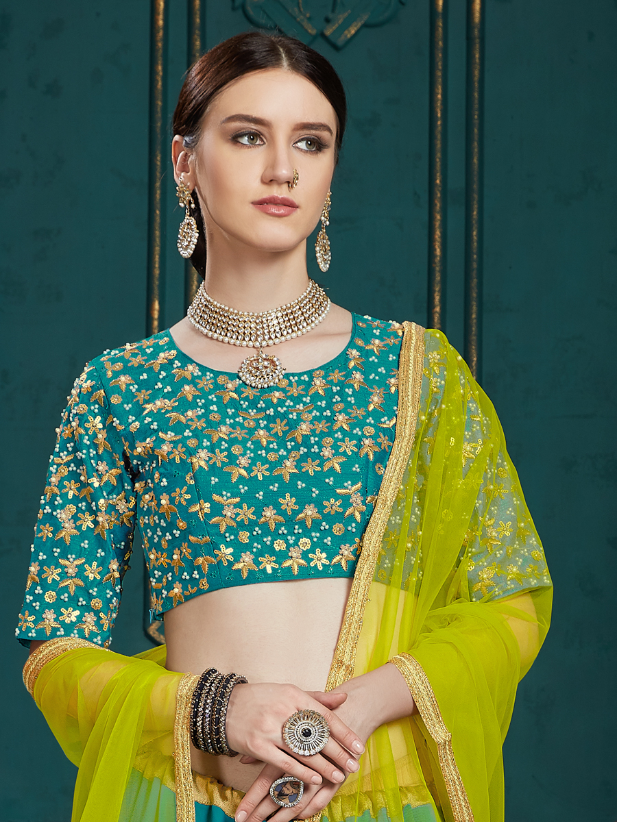 Teal Blue Faux Georgette Embroidered Party Lehenga Choli