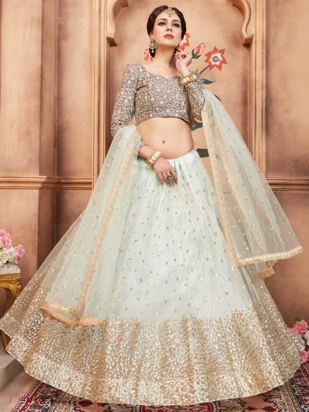 Alice Blue Net Party Embroidered Lehenga Choli